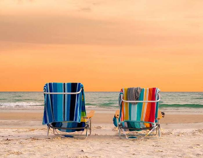 Beach chairs on the beach in Florida