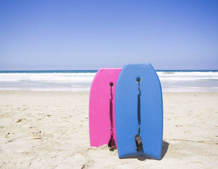 Two bodyboards planted on the beach in Florida