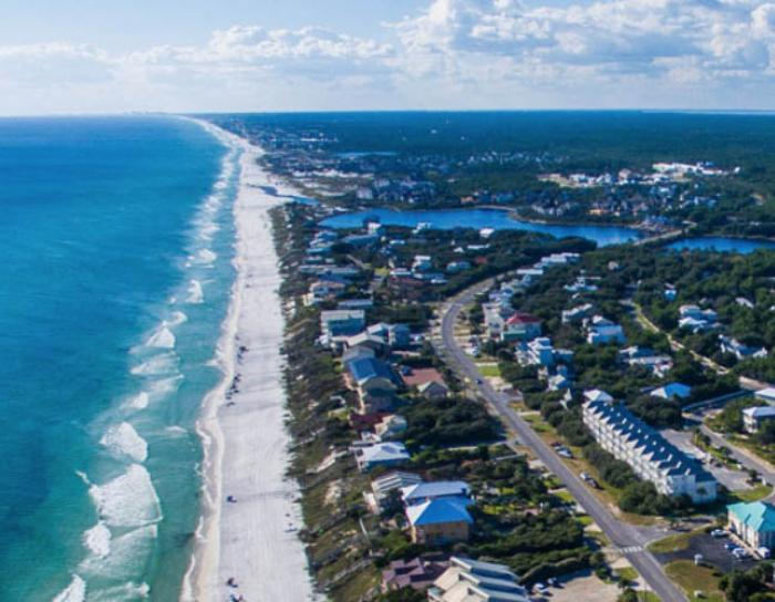 Ariel view of the 30A coastline